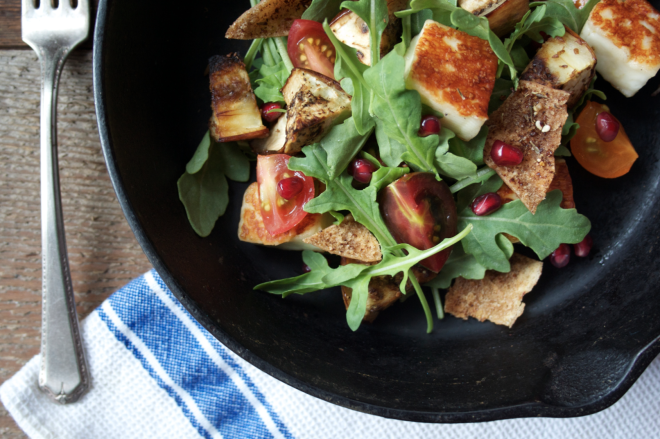 Cumin-Roasted Eggplant Salad with Aragula, Halloumi Cheese and Pomegranate + Zaatar Pita Chips 01