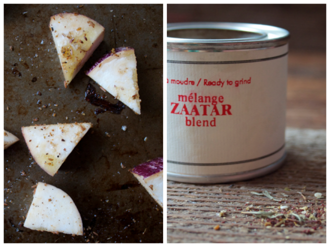 Cumin-Roasted Eggplant Salad with Aragula, Halloumi Cheese and Pomegranate + Zaatar Pita Chips